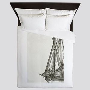 Pirate Ship Illustration Queen Duvet