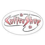 Retro Coffee Shop Oval Sticker