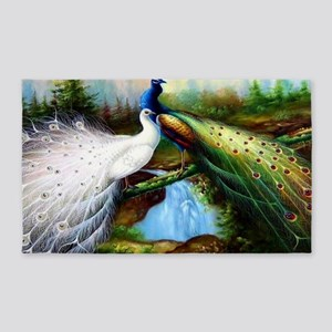 Two Peacocks Area Rug