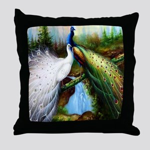 Two Peacocks Throw Pillow