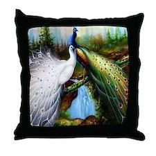 Two Peacocks Throw Pillow