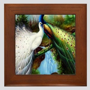 Two Peacocks Framed Tile