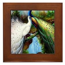 Two Peacocks Framed Tile