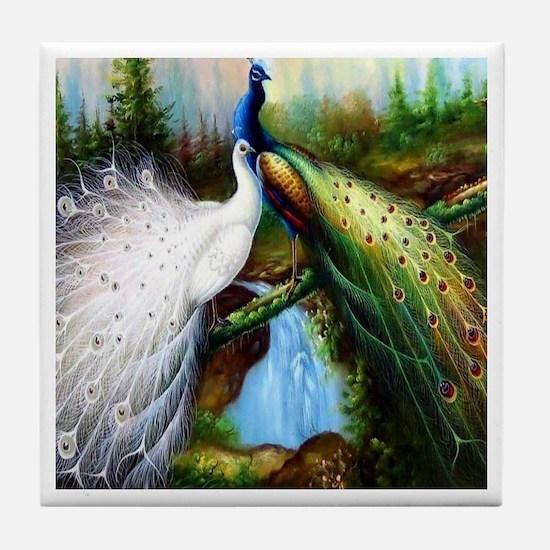 Two Peacocks Tile Coaster