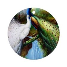 Two Peacocks (round) Round Ornament