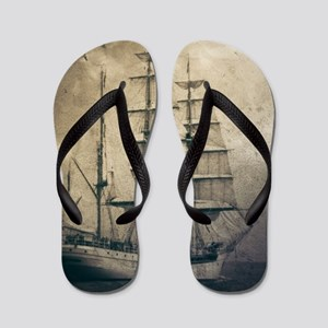 vintage pirate ship landscape Flip Flops