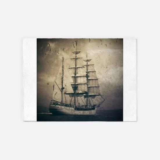 vintage pirate ship landscape 5'x7'Area Rug