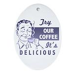 Coffee Shop Ad Oval Ornament