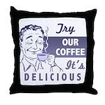 Coffee Shop Ad Throw Pillow