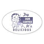 Coffee Shop Ad Oval Sticker