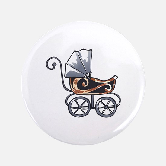 """ANTIQUE BABY CARRIAGE 3.5"""" Button"""