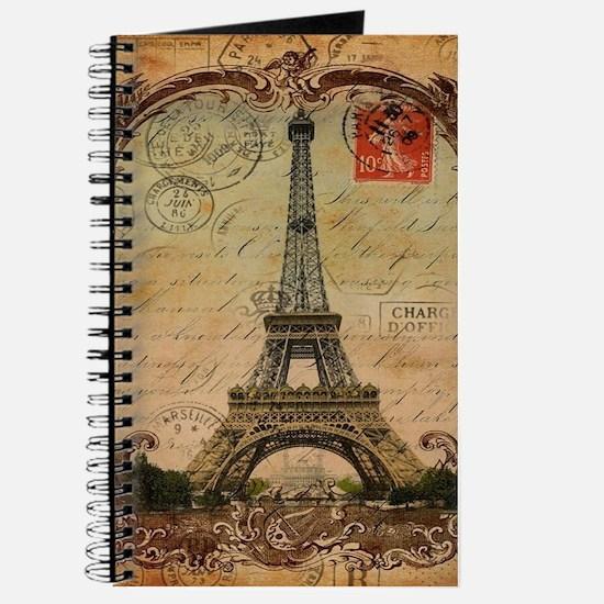 vintage scripts postage paris eiffel tower Journal