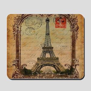 vintage scripts postage paris eiffel tow Mousepad