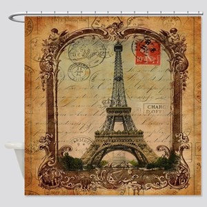 vintage scripts postage paris eiffe Shower Curtain