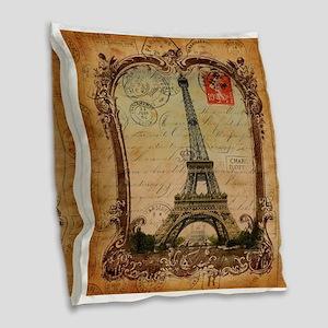 vintage scripts postage paris Burlap Throw Pillow