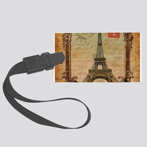vintage scripts postage paris ei Large Luggage Tag