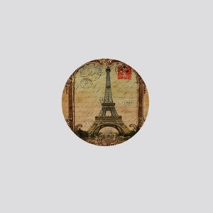 vintage scripts postage paris eiffel t Mini Button