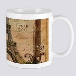 vintage scripts postage paris eiffel tower Mugs