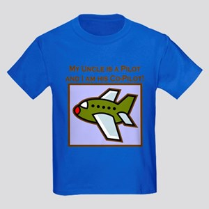 Uncle's Co-Pilot Airplane Kids Dark T-Shirt
