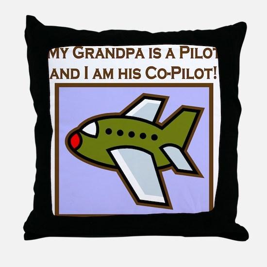 Grandpa's Co-Pilot Airplane Throw Pillow