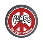 Peace is the word Wall Clock