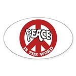 Peace is the word Oval Sticker