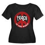 Peace is the word Women's Plus Size Scoop Neck Tee