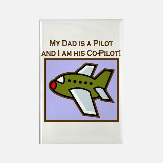 Grandpa's Co-Pilot Airplane Rectangle Magnet