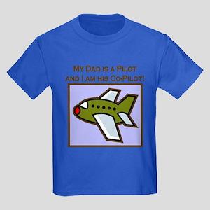 Grandpa's Co-Pilot Airplane Kids Dark T-Shirt