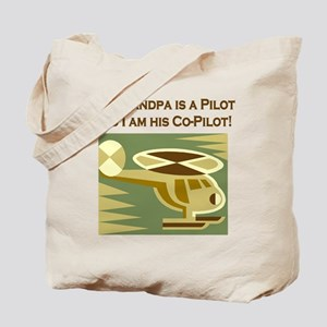 Grandpa's Co-Pilot Helicopter Tote Bag