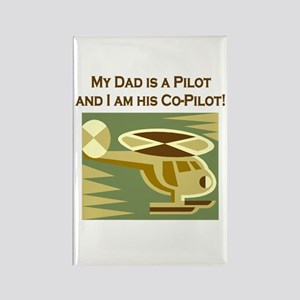 Dad's Co-Pilot Helicopter Rectangle Magnet