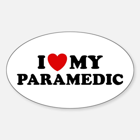 I Love My Paramedic Oval Decal