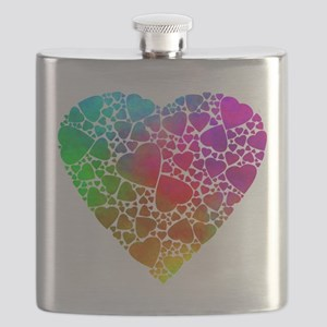 Colorful Hearts Flask