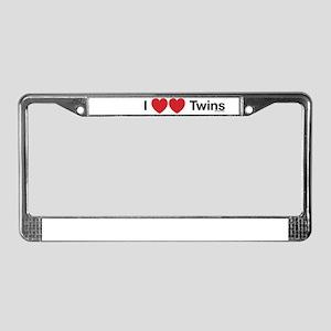 I Love Twins License Plate Frame