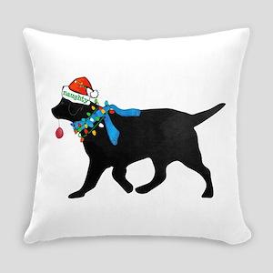 Black Lab Naughty Christmas Dog Everyday Pillow