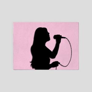 Female Singer Pink 5'x7'Area Rug