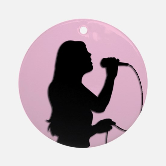 Female Singer Pink Ornament (Round)
