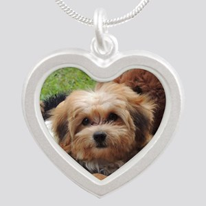 Copper the Morkie Silver Heart Necklace