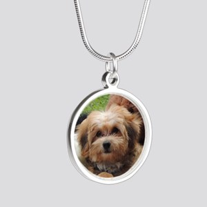 Copper the Morkie Silver Round Necklace