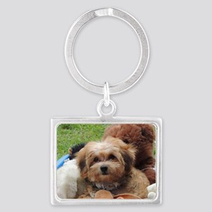 Copper the Morkie Landscape Keychain
