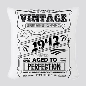 Vintage Aged To Perfection 1942 Woven Throw Pillow