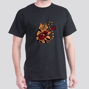 Tiger Cat Playing Red Guitar T-Shirt