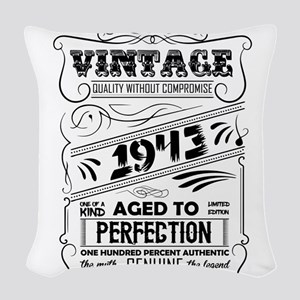 Vintage Aged To Perfection 1943 Woven Throw Pillow