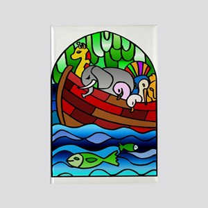 Noah's Ark Stained Glass Rectangle Magnet