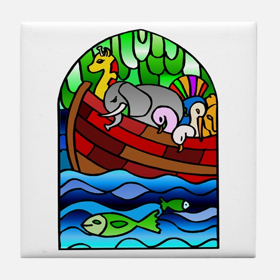 Noah's Ark Stained Glass Tile Coaster