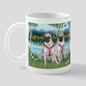 Birches / Two Fawn Pugs Mug