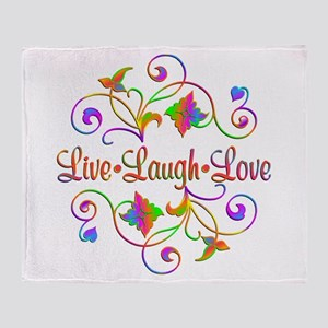 Live Laugh Love Flourish Throw Blanket