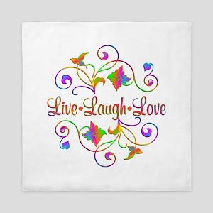 Live Laugh Love Flourish Queen Duvet