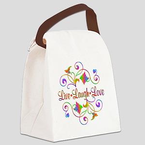 Live Laugh Love Flourish Canvas Lunch Bag