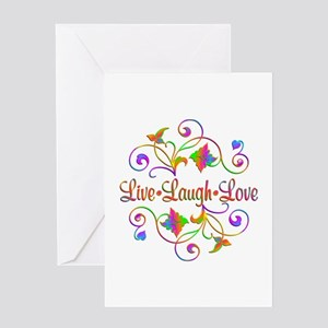 Live Laugh Love Flourish Greeting Cards